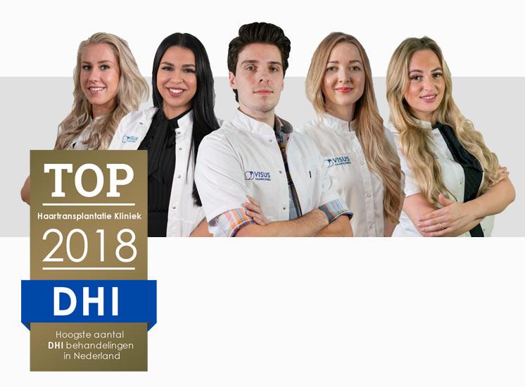 Visus Haarkliniek heeft in 2018 een Award gewonnen voor het hoogst aantal DHI behandelingen in Nederland gedaan tegen haarverlies en kaalheid